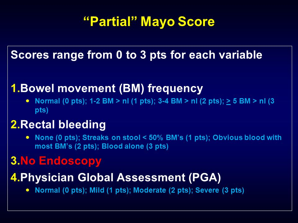 Partial Mayo Score Scores range from 0 to 3 pts for each variable