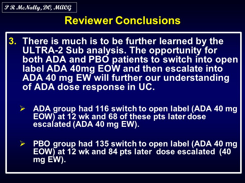 P R McNally, DO, MACG Reviewer Conclusions.