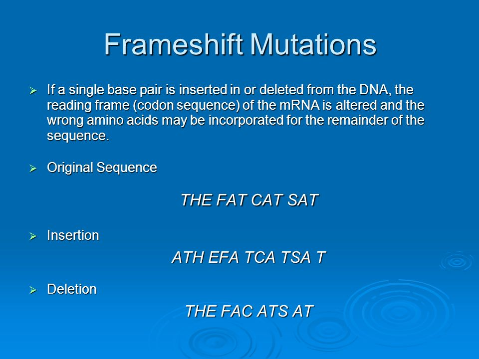 Frameshift Mutations THE FAT CAT SAT