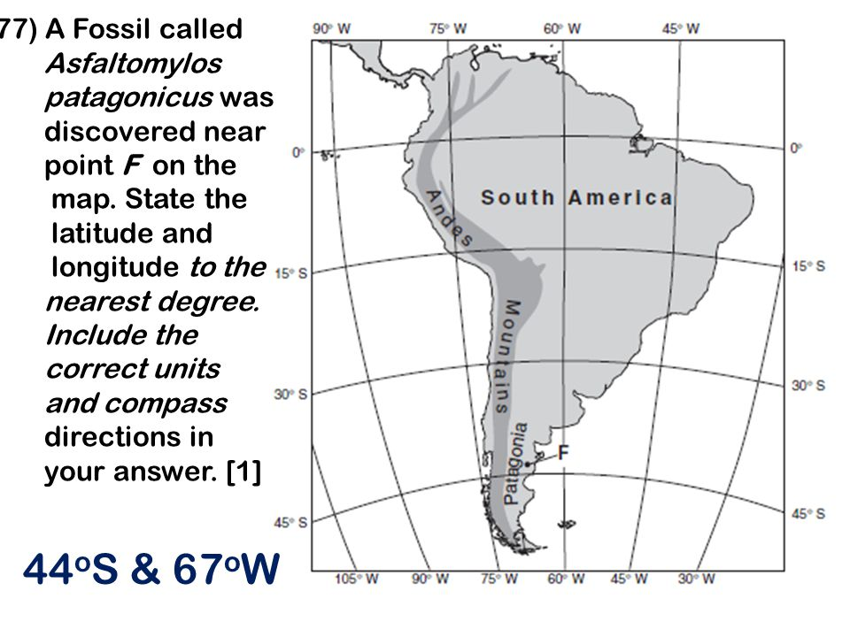 44oS & 67oW 77) A Fossil called Asfaltomylos patagonicus was