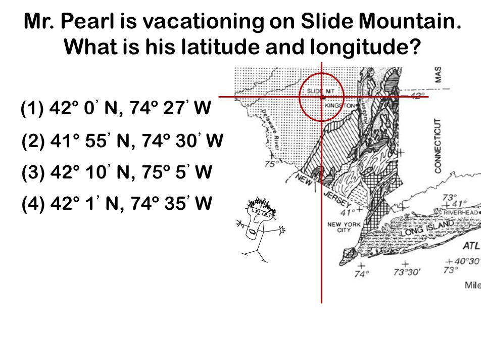 Mr. Pearl is vacationing on Slide Mountain