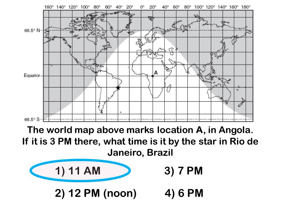 The world map above marks location A, in Angola.