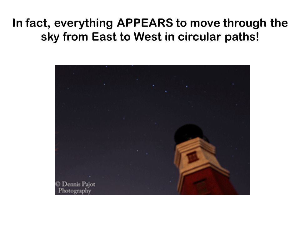 In fact, everything APPEARS to move through the sky from East to West in circular paths!