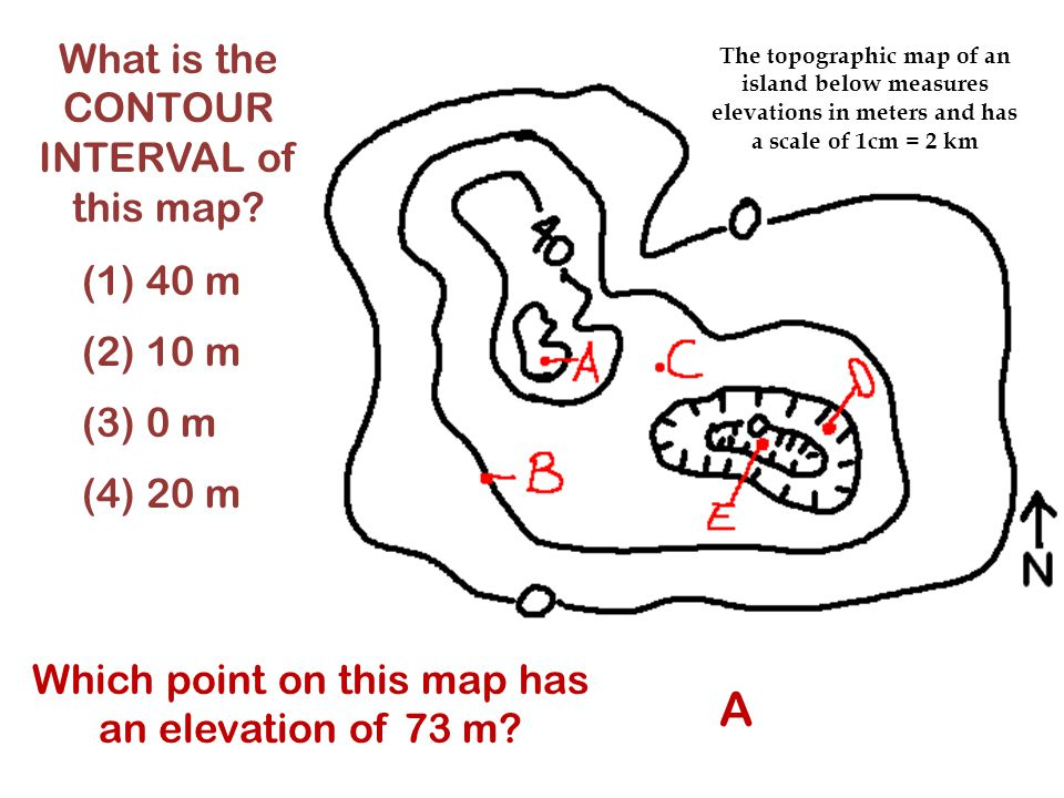 A What is the CONTOUR INTERVAL of this map (1) 40 m (2) 10 m (3) 0 m