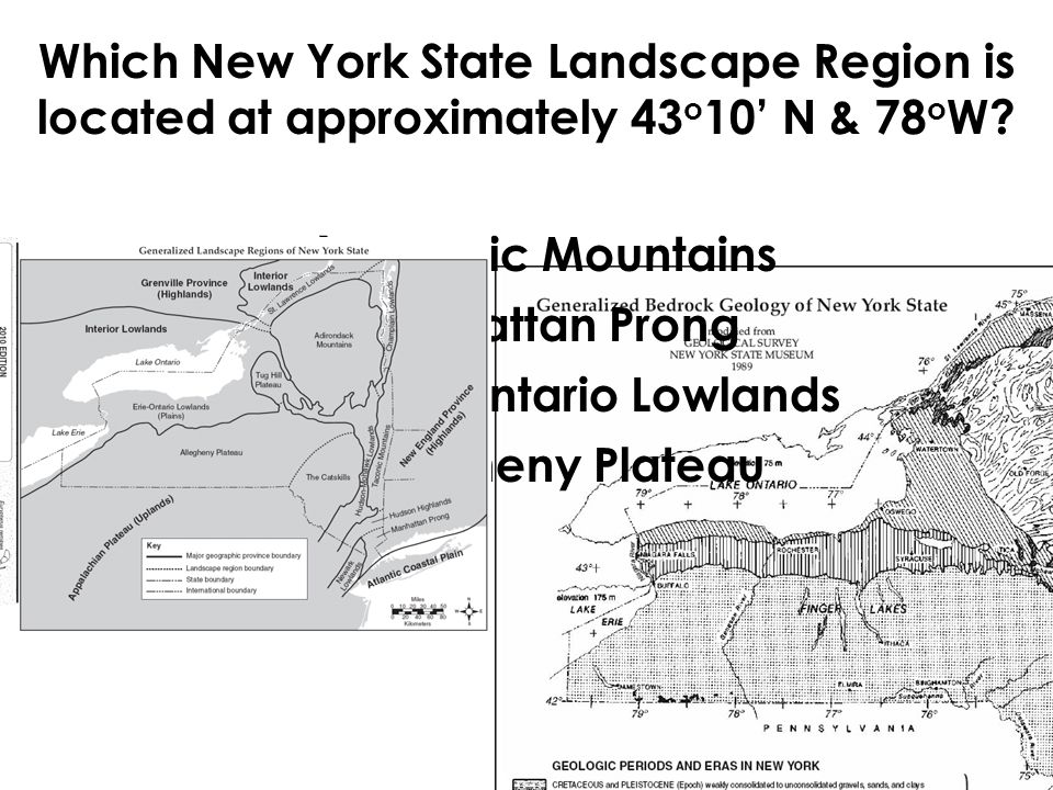 Which New York State Landscape Region is located at approximately 43o10' N & 78oW
