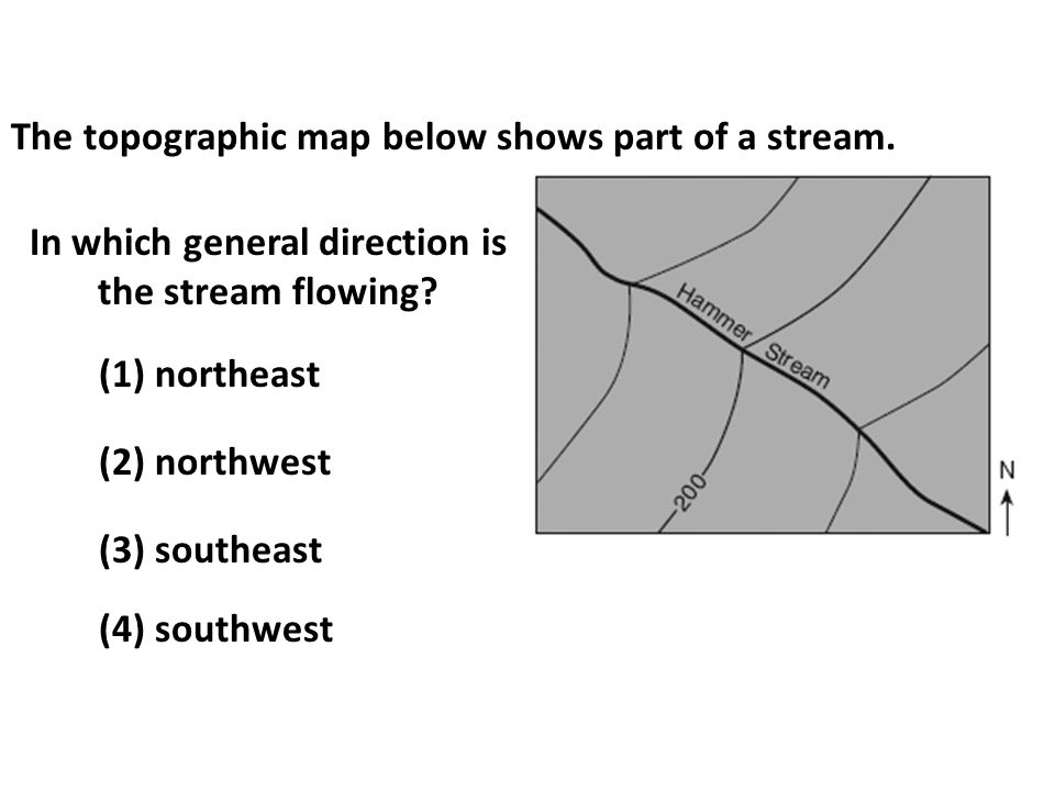 In which general direction is the stream flowing