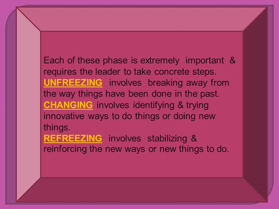 Each of these phase is extremely important & requires the leader to take concrete steps.