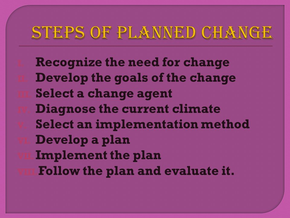 STEPS OF PLANNED CHANGE