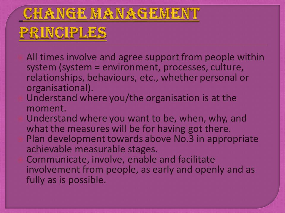 Change management principles