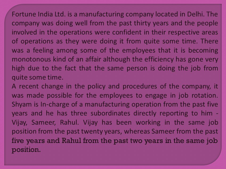 Fortune India Ltd. is a manufacturing company located in Delhi