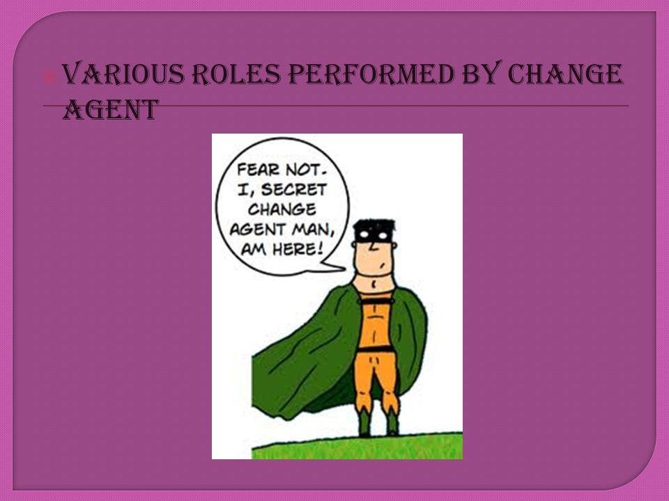 VARIOUS ROLES PERFORMED BY CHANGE AGENT