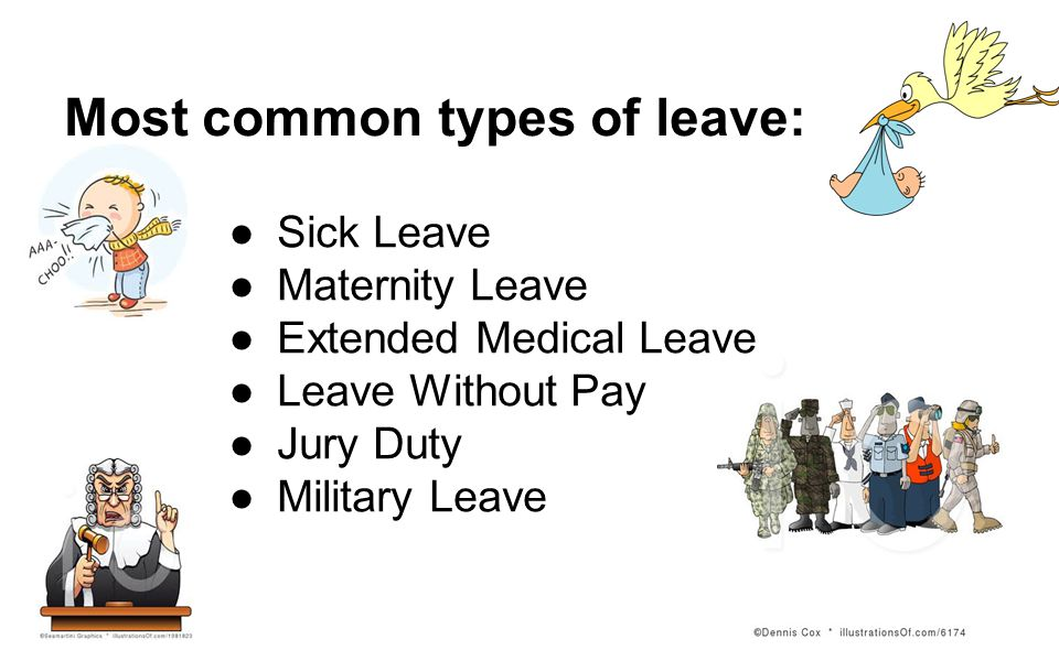 Most common types of leave: