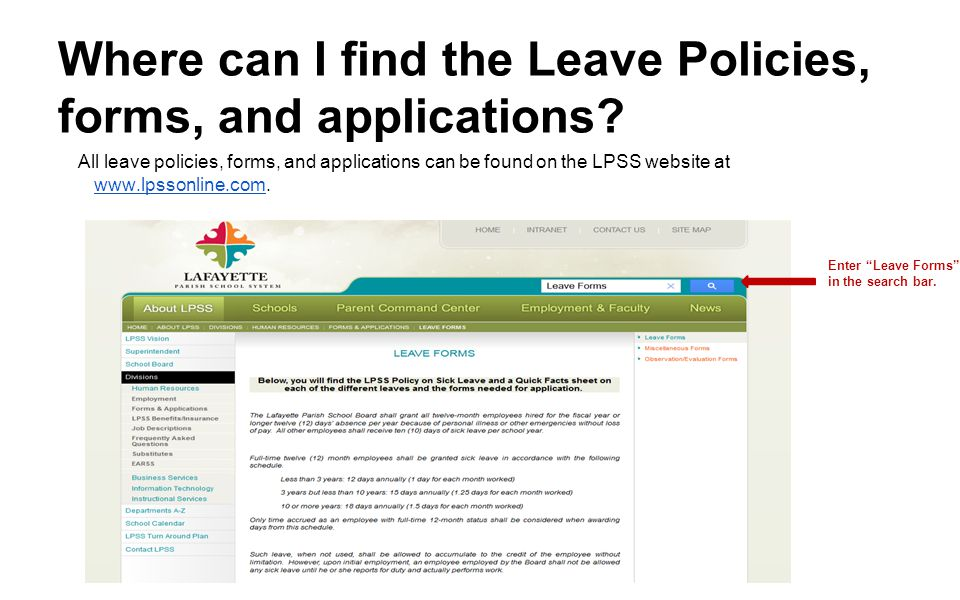 Where can I find the Leave Policies, forms, and applications