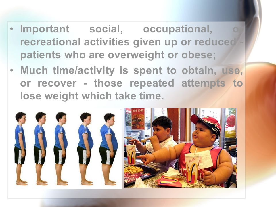 Important social, occupational, or recreational activities given up or reduced - patients who are overweight or obese;