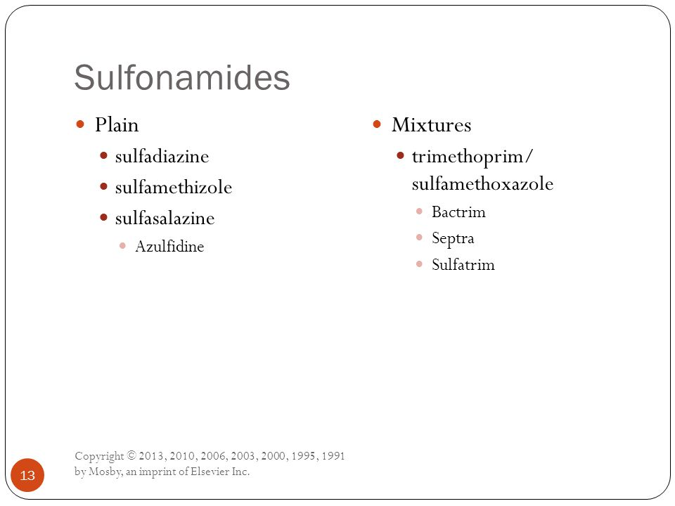 Sulfonamides Plain Mixtures sulfadiazine sulfamethizole sulfasalazine