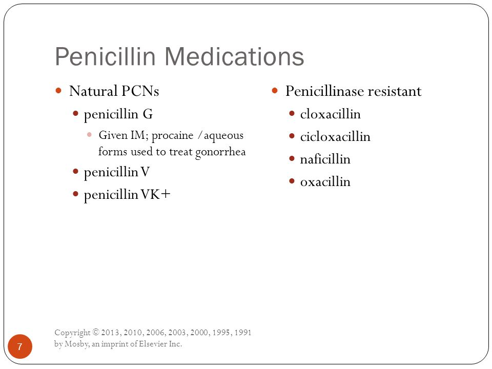 Penicillin Medications