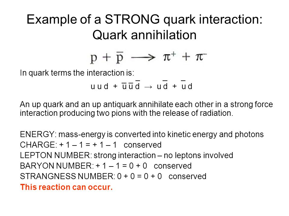 Example of a STRONG quark interaction: Quark annihilation