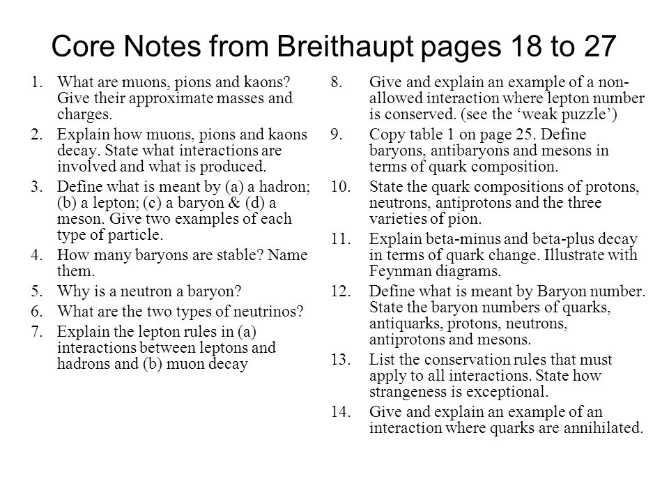 Core Notes from Breithaupt pages 18 to 27