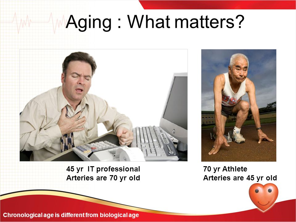 Aging : What matters 45 yr IT professional Arteries are 70 yr old