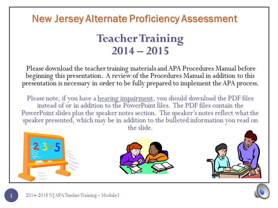 New Jersey Alternate Proficiency Assessment