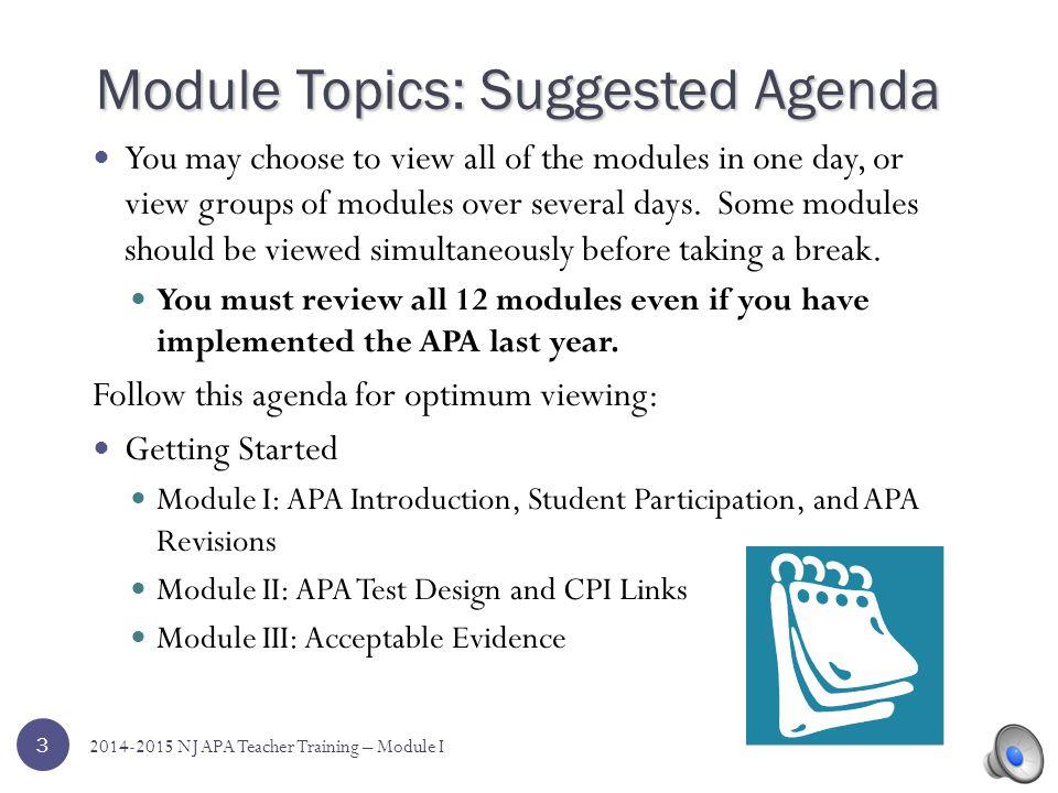 Module Topics: Suggested Agenda