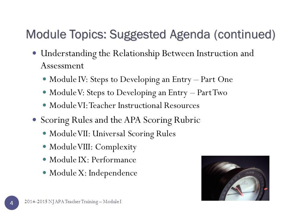Module Topics: Suggested Agenda (continued)