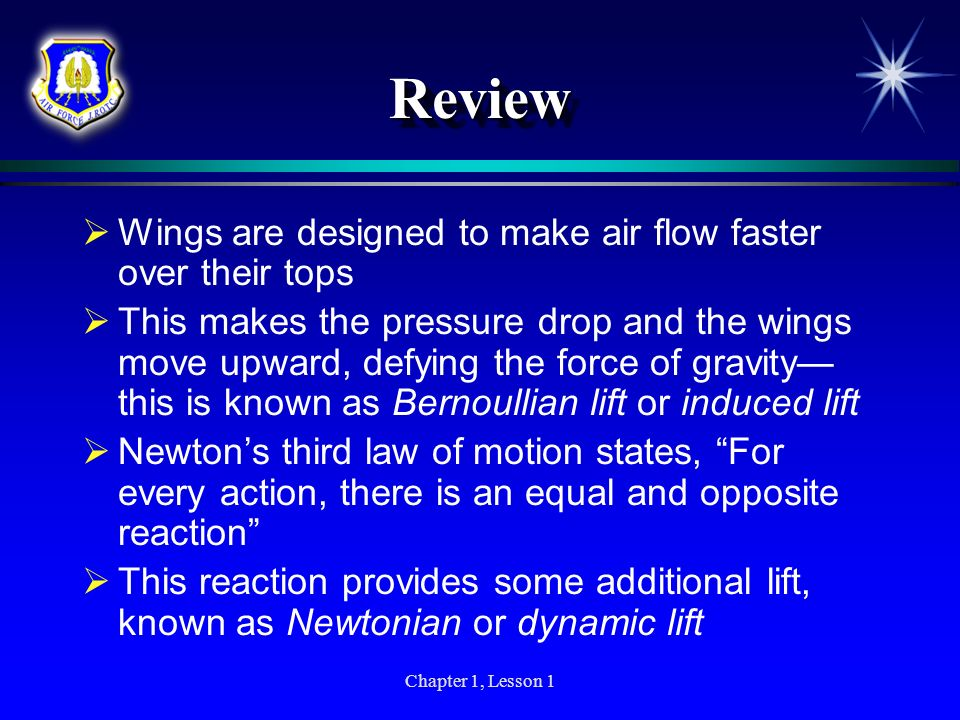 Review Wings are designed to make air flow faster over their tops