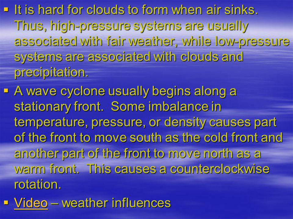 It is hard for clouds to form when air sinks