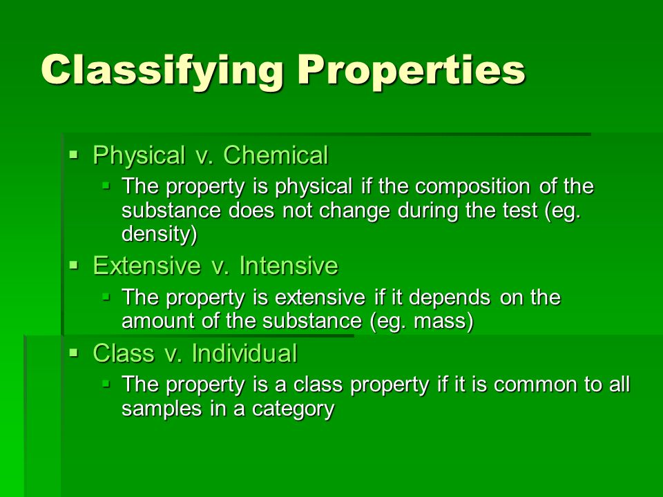 Classifying Properties
