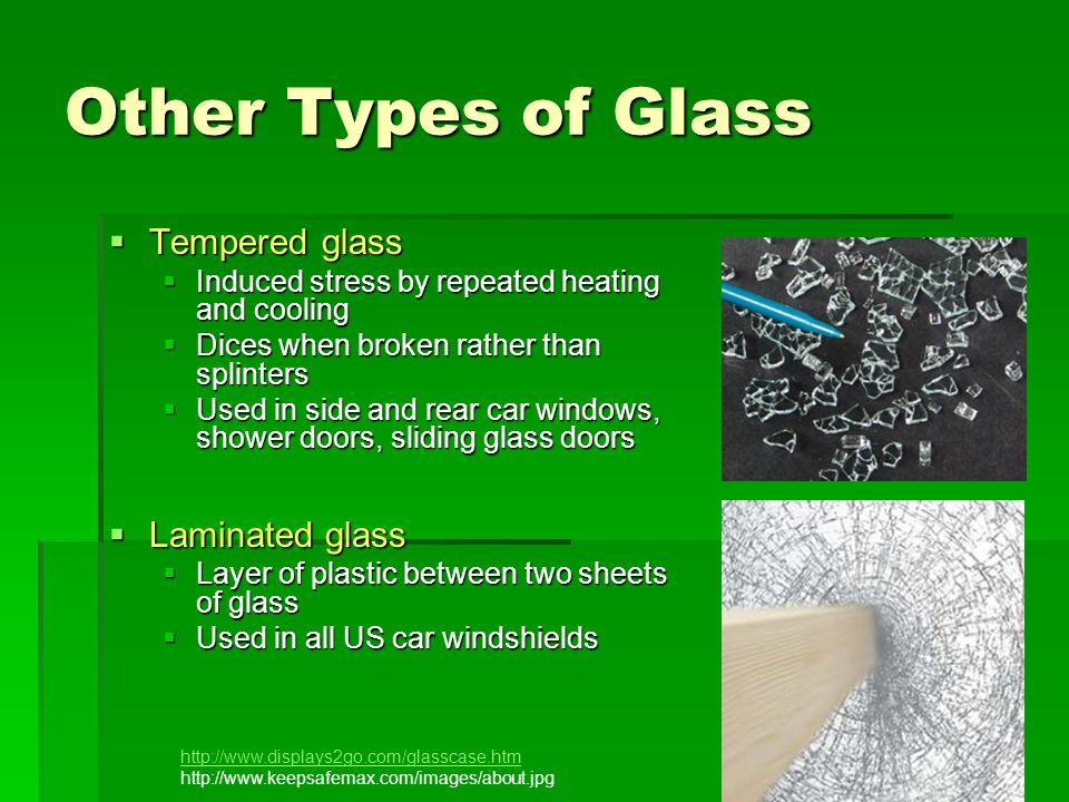 Other Types of Glass Tempered glass Laminated glass