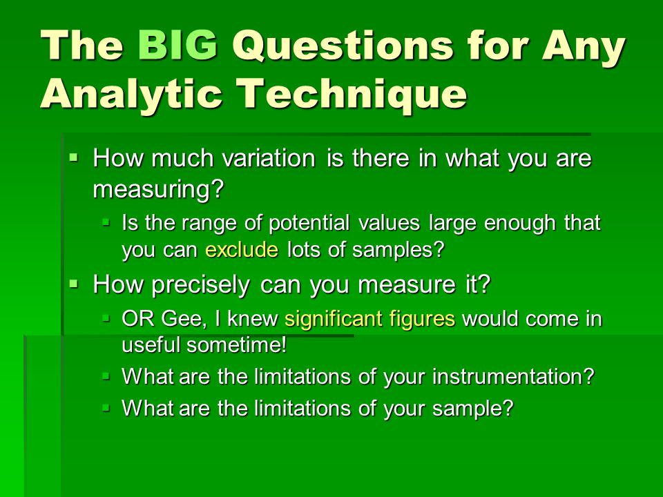 The BIG Questions for Any Analytic Technique