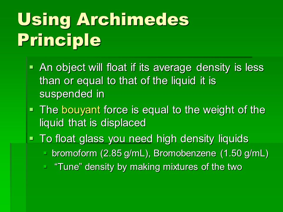 Using Archimedes Principle