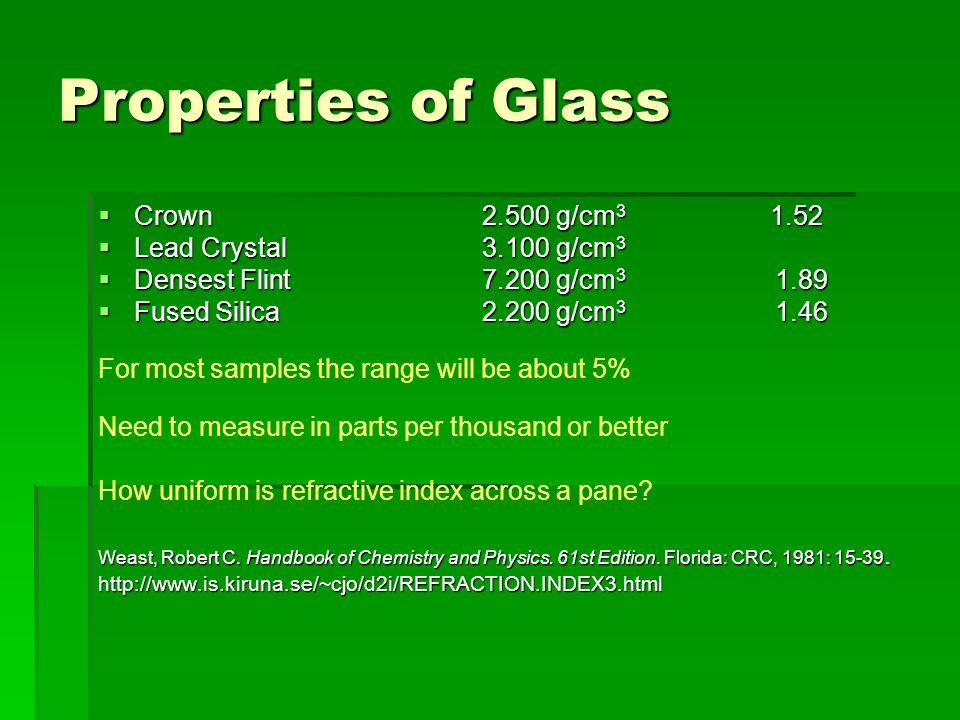 Properties of Glass Crown 2.500 g/cm3 1.52 Lead Crystal 3.100 g/cm3