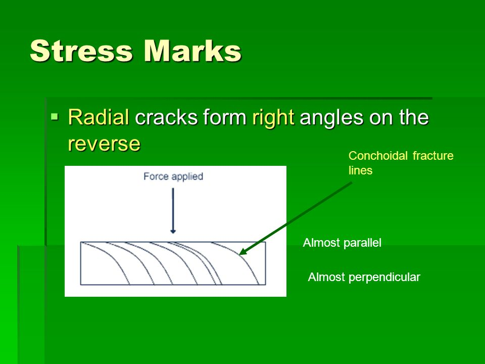 Stress Marks Radial cracks form right angles on the reverse