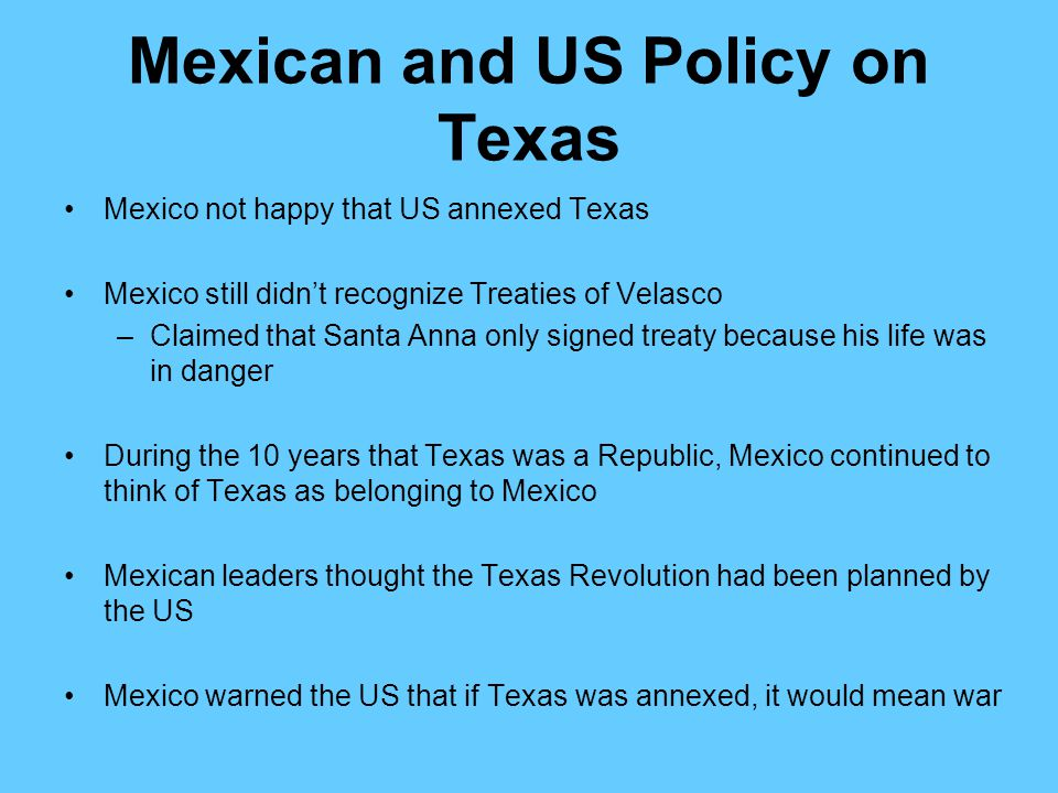 Mexican and US Policy on Texas