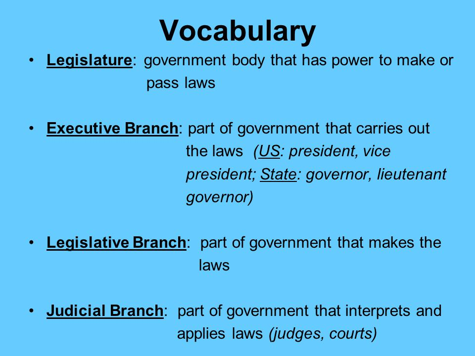 Vocabulary Legislature: government body that has power to make or