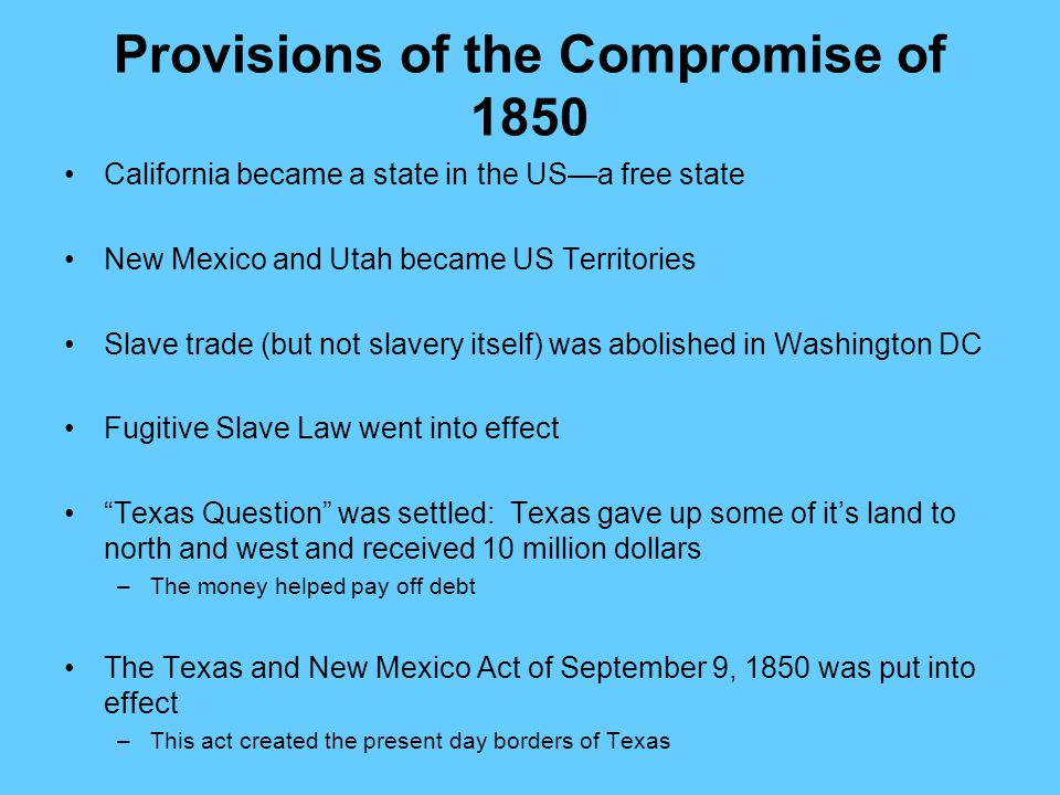 Provisions of the Compromise of 1850