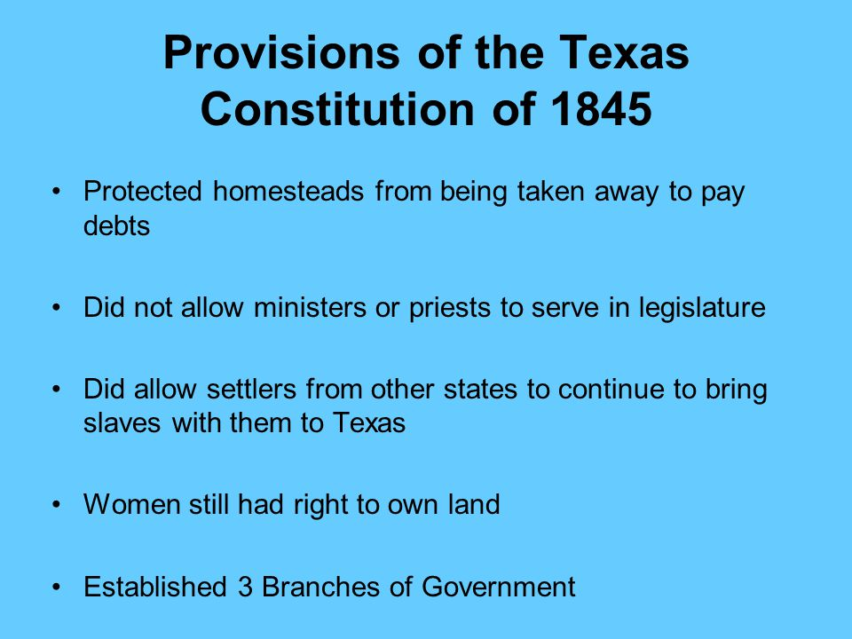 Provisions of the Texas Constitution of 1845