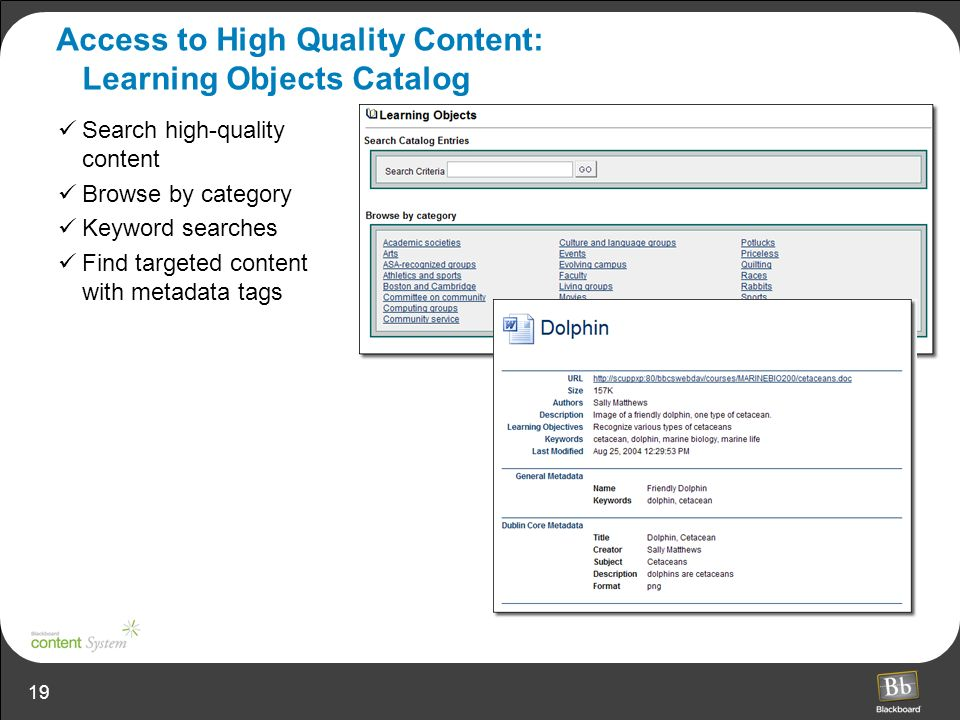 Access to High Quality Content: Learning Objects Catalog