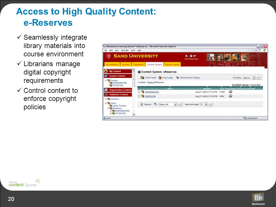 Access to High Quality Content: e-Reserves