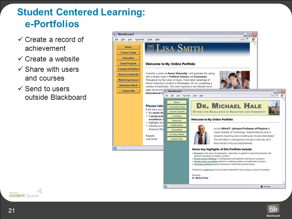 Student Centered Learning: e-Portfolios