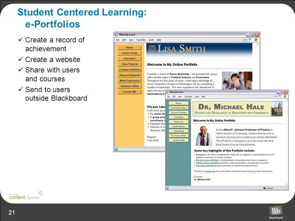 Student Centered Learning: e-Portfolios