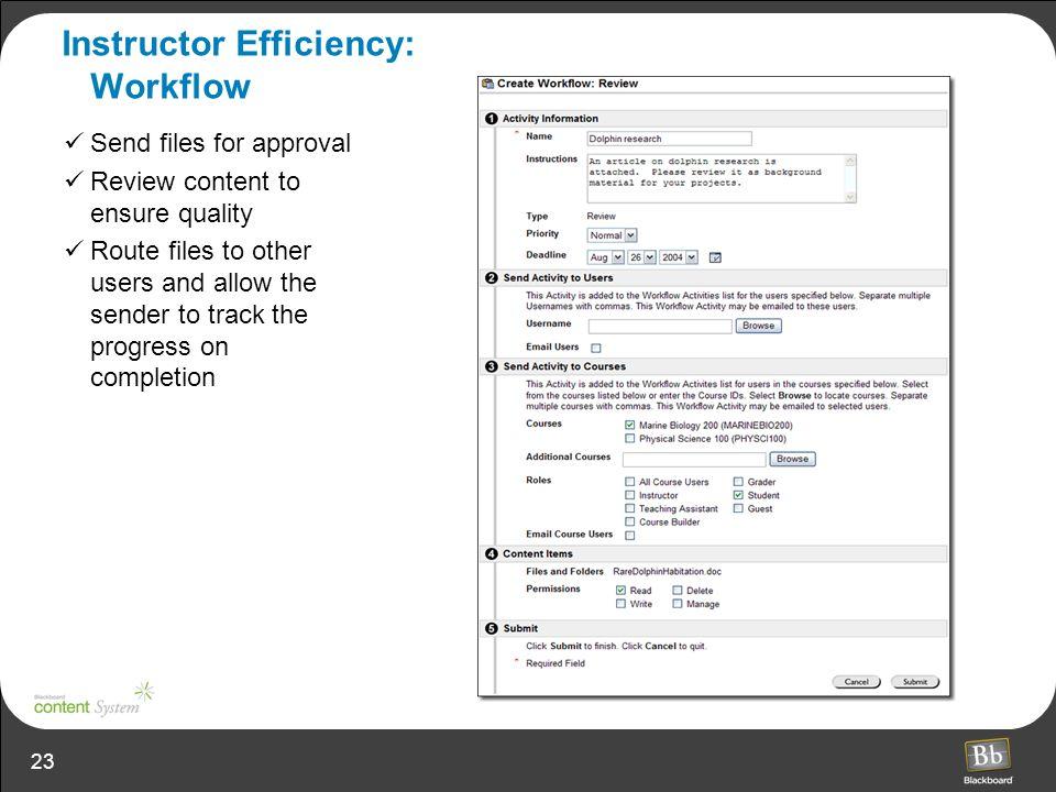 Instructor Efficiency: Workflow