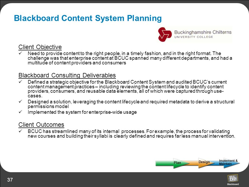 Blackboard Content System Planning