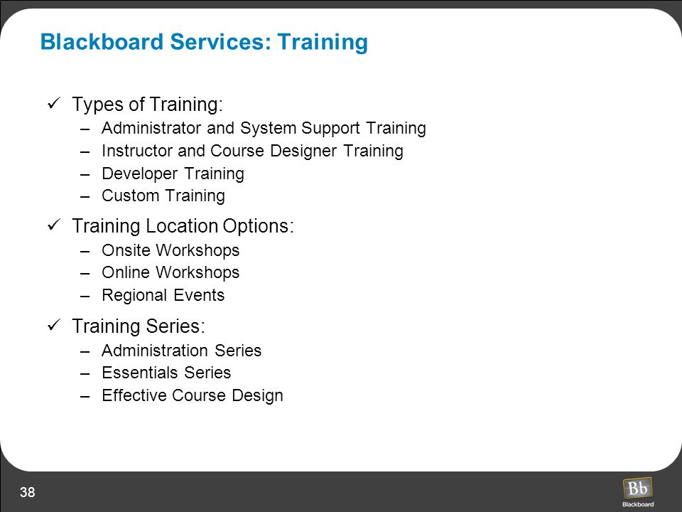 Blackboard Services: Training