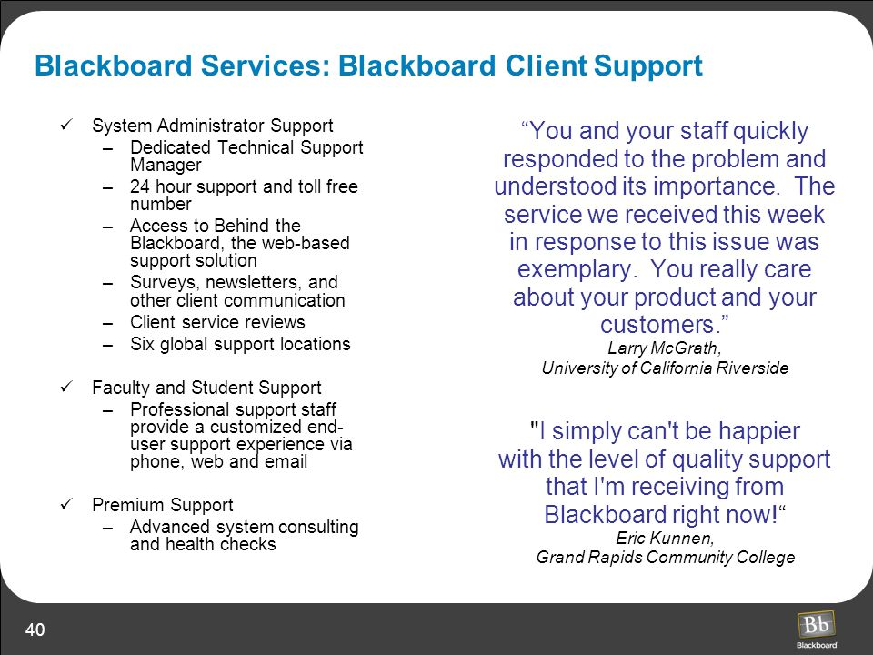 Blackboard Services: Blackboard Client Support