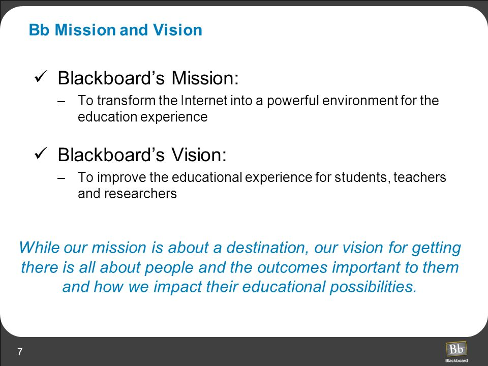 Blackboard's Mission: