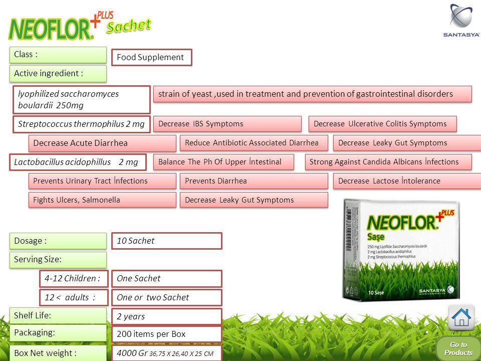 Sachet Class : Food Supplement Active ingredient :