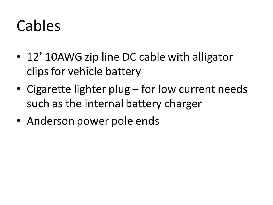 Cables 12' 10AWG zip line DC cable with alligator clips for vehicle battery.