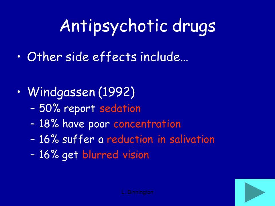 Antipsychotic drugs Other side effects include… Windgassen (1992)